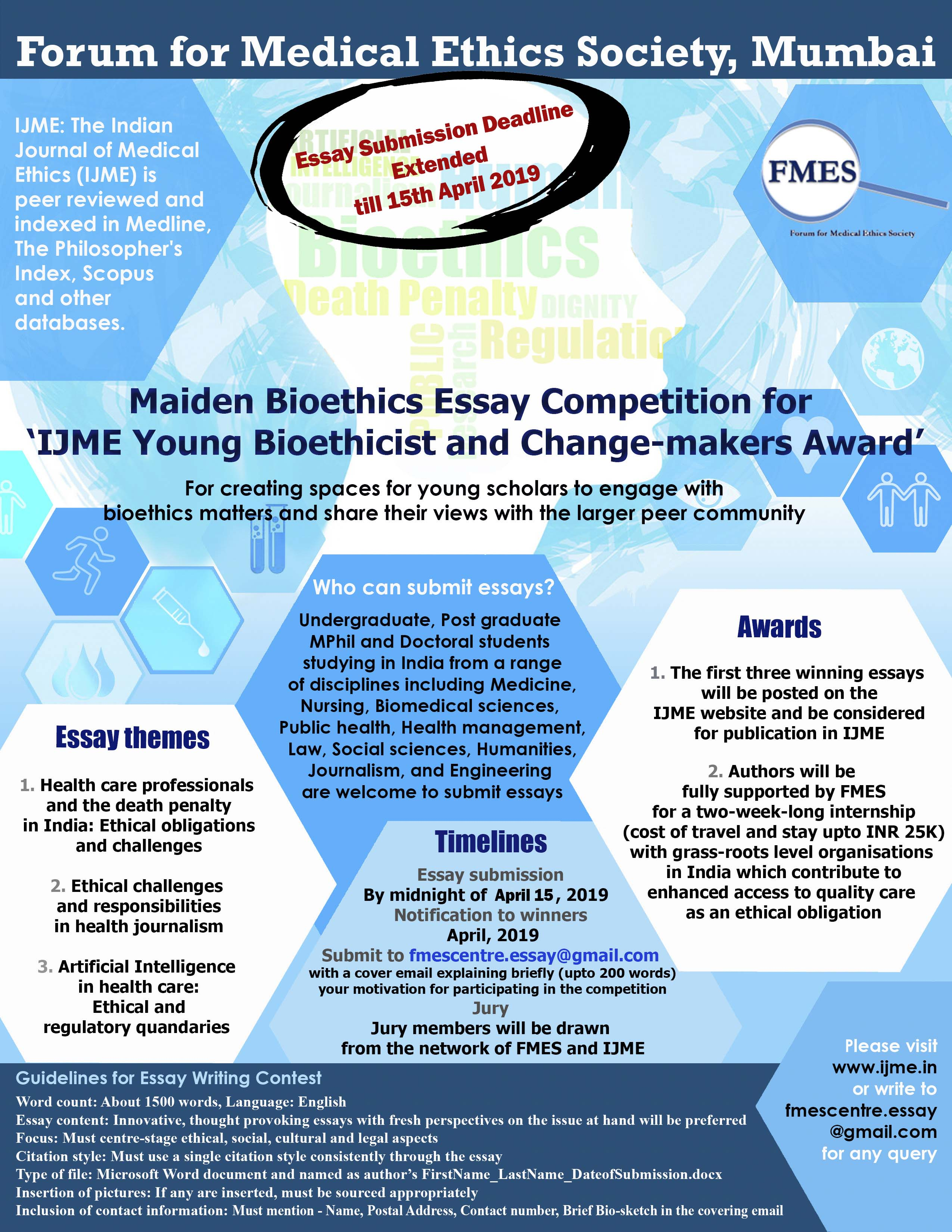 Maiden Bioethics Essay Competition for 'IJME Young